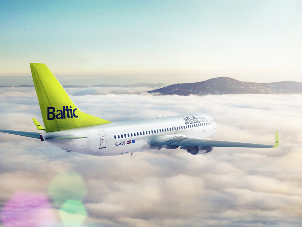 airBaltic airplane in the sky. Cheap flights. HD quality Boeing picture