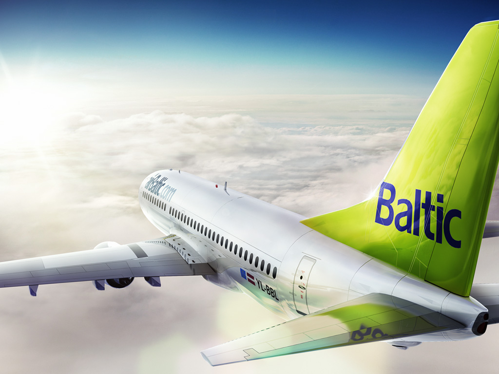 airBaltic  Boeing in the sky. Greentail in the sky. HD image.