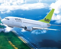 airBaltic plane in the sky. Wallpaper for download