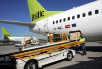 loading the airBaltic plane