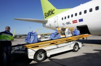 airBaltic cargo plane loaded